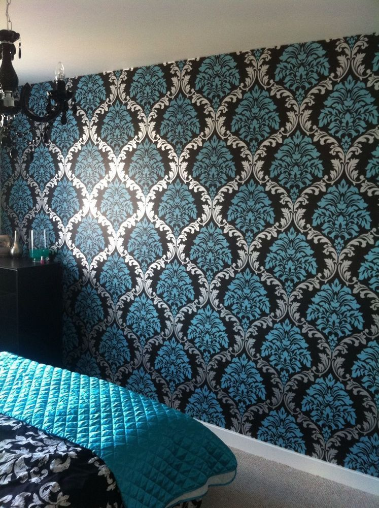 Designer Damask Aqua blue Teal Silver Black Wallpaper