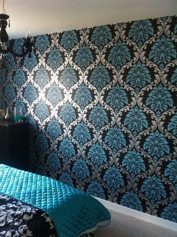Designer damask aqua blue teal silver black wallpaper for Feature wall wallpaper