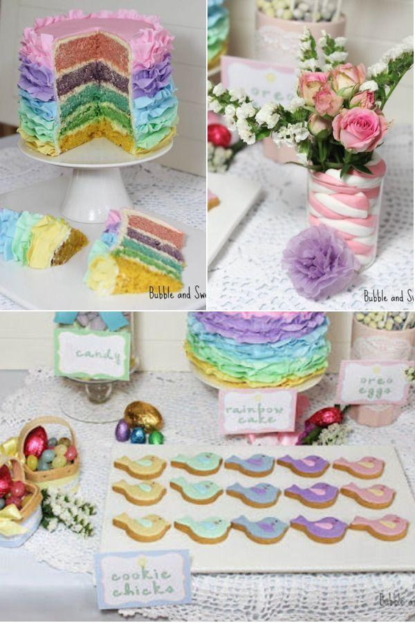 Easter cake idea...I like the cake decorating idea for a rainbow cake