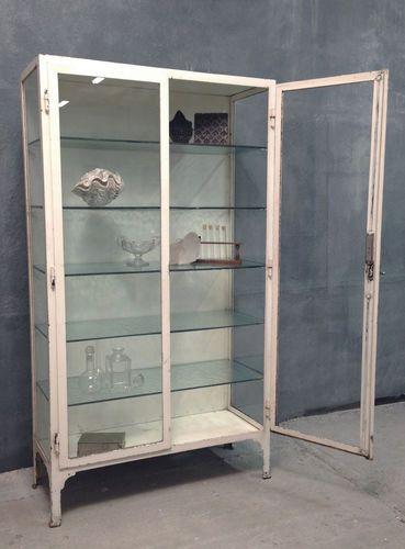 Antique Vintage 1920 S Steel Glass Display Haberdashery Kitchen