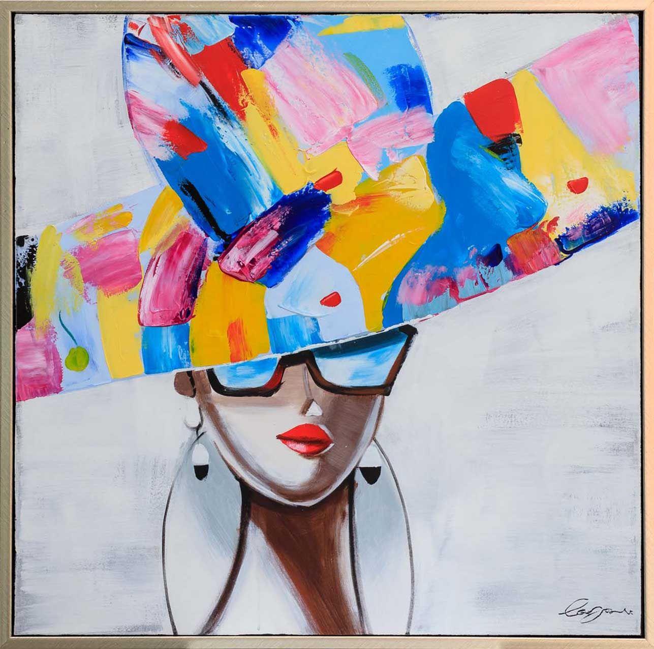 Original Gemälde Ölgemälde Modell Mode Frau mit Rahmen 84cm Moderne