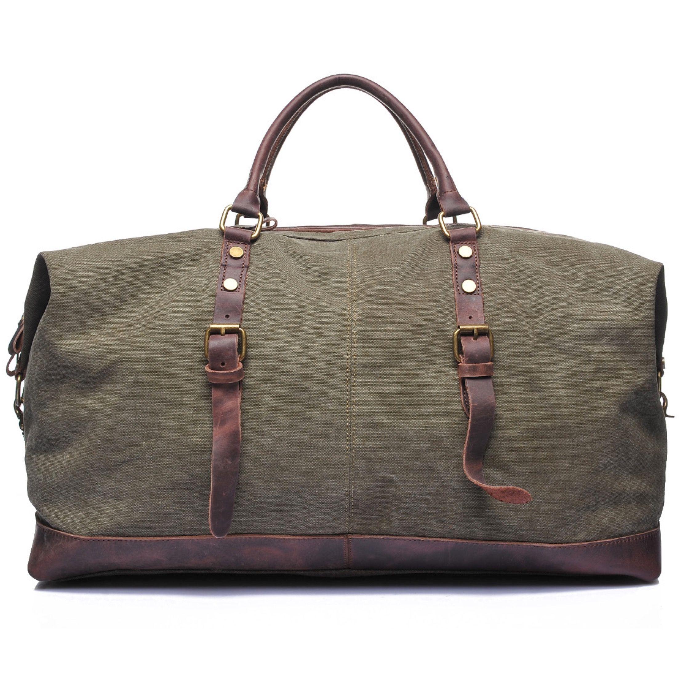 Waxed Canvas Duffle Bag Green