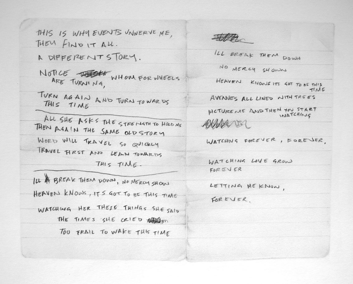 "Handwritten lyrics for ""Ceremony"" by Ian Curtis. Performed"