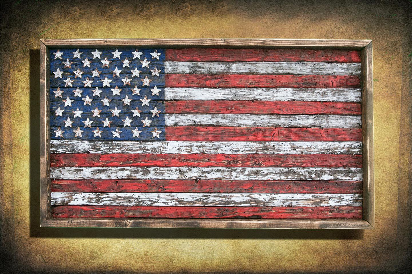 American Flag, Framed version,  Weathered Wood, One of a kind, Wooden, vintage, distressed, red, blue, white patriotic, art, USA, home decor by ChrisKnightCreations on Etsy https://www.etsy.com/listing/223950102/american-flag-framed-version-weathered