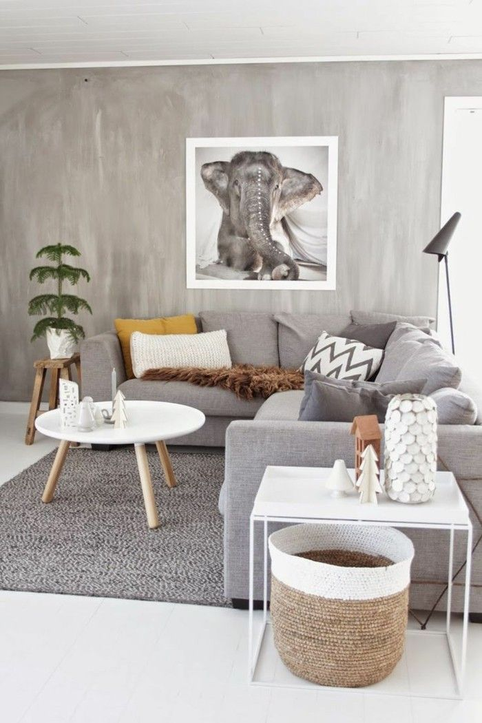 living room gray carpet grey white flooring Stue sofa ideer