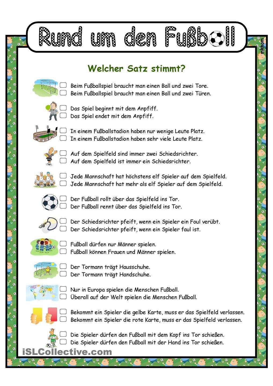 Fußball _ Welcher Satz stimmt? | nemčina | Pinterest | Learn german ...