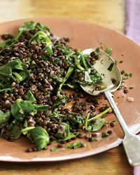 Lentils with Red Wine and Herbs | With herbs and a scattering of mâche (a sweet and tender green), the stewy lentils become a perfect combination of soup and salad.
