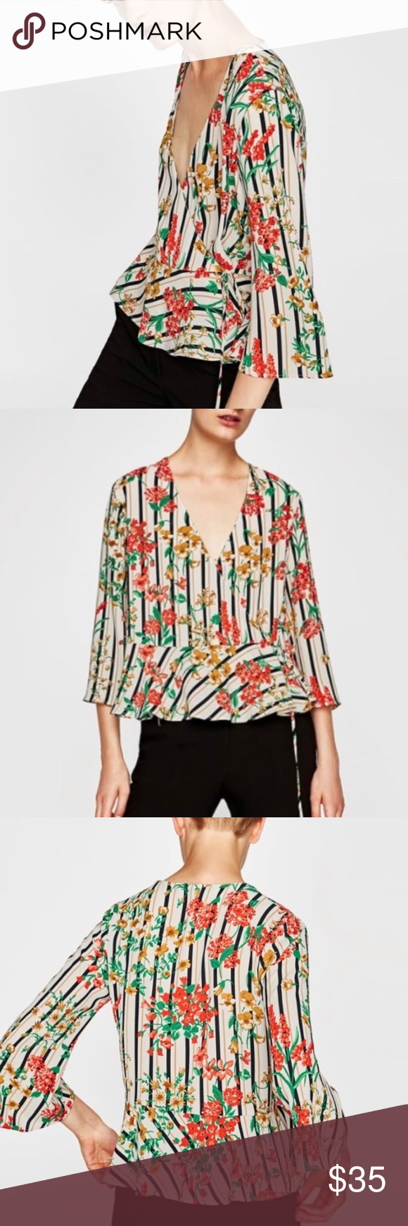 e097cf0b Zara striped floral wrap front top Beautiful striped and floral Zara tie  front top Lightweight and feminine Wear on it's own or paired with a  camisole ...