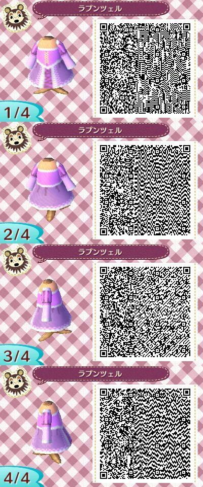 Animal Crossing New Leaf QR Code: Rapunzel's dress from Tangled!