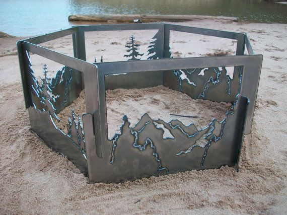 Decorative Portable Metal Fire Pit Mountain Trees