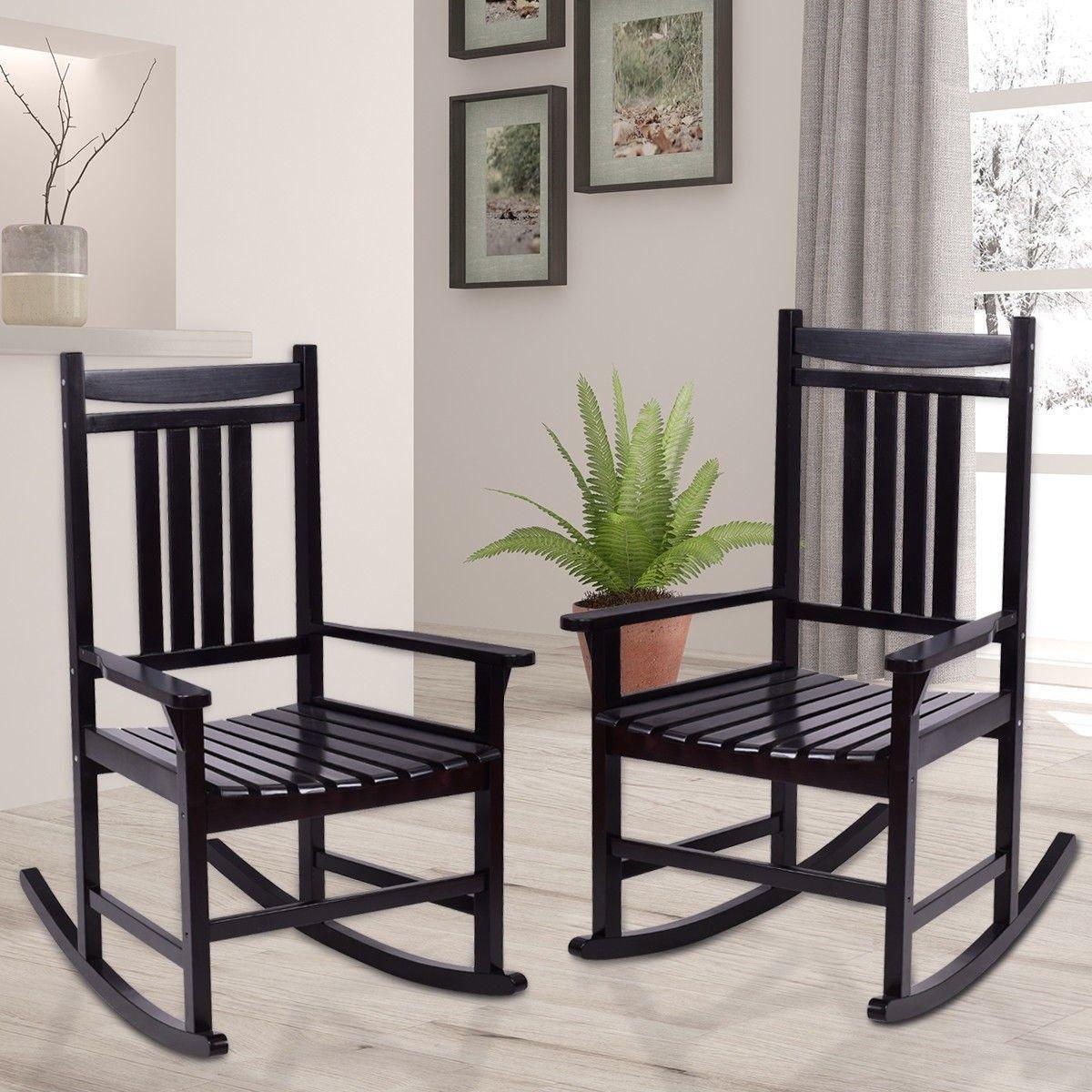 Set of 2 Indoor Outdoor Porch Wood Rocking Chair Rocking