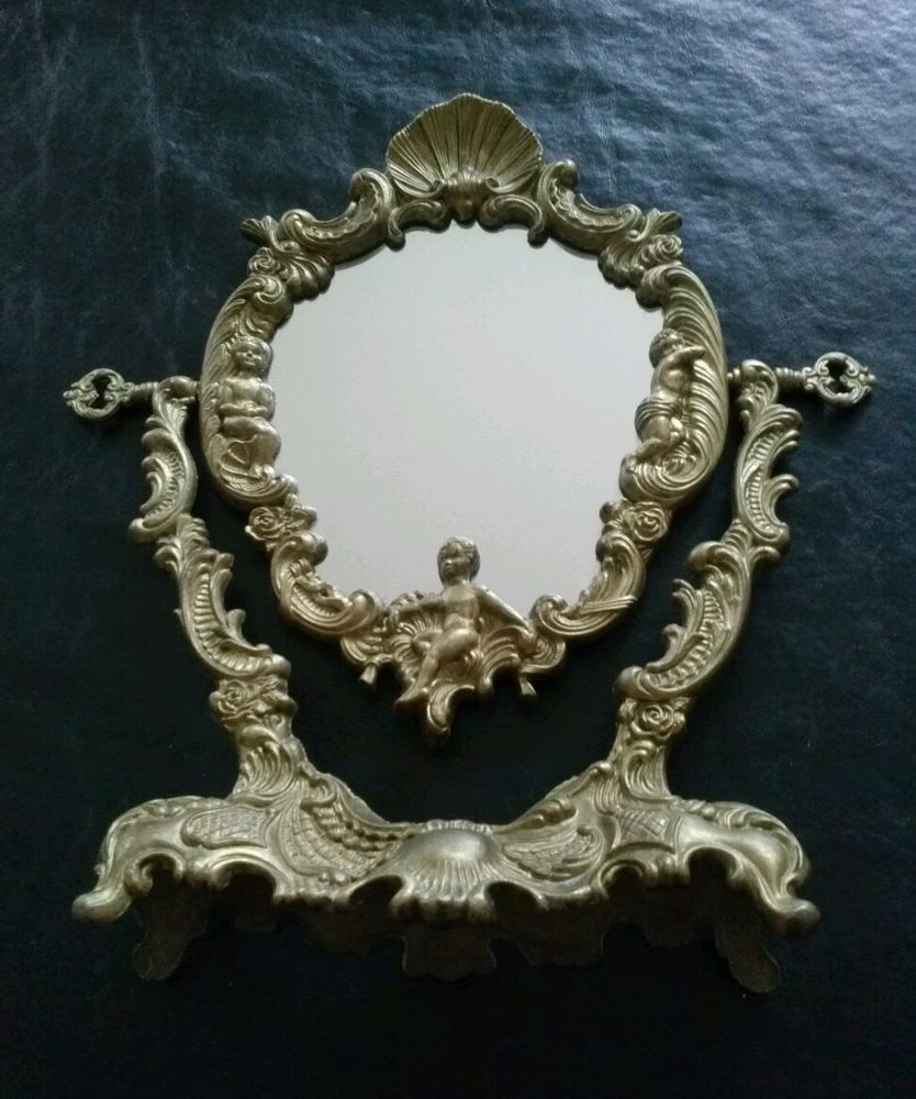 French Gold Bronze Brass Metal Frame Antique Mirror LOUIS XV style ...