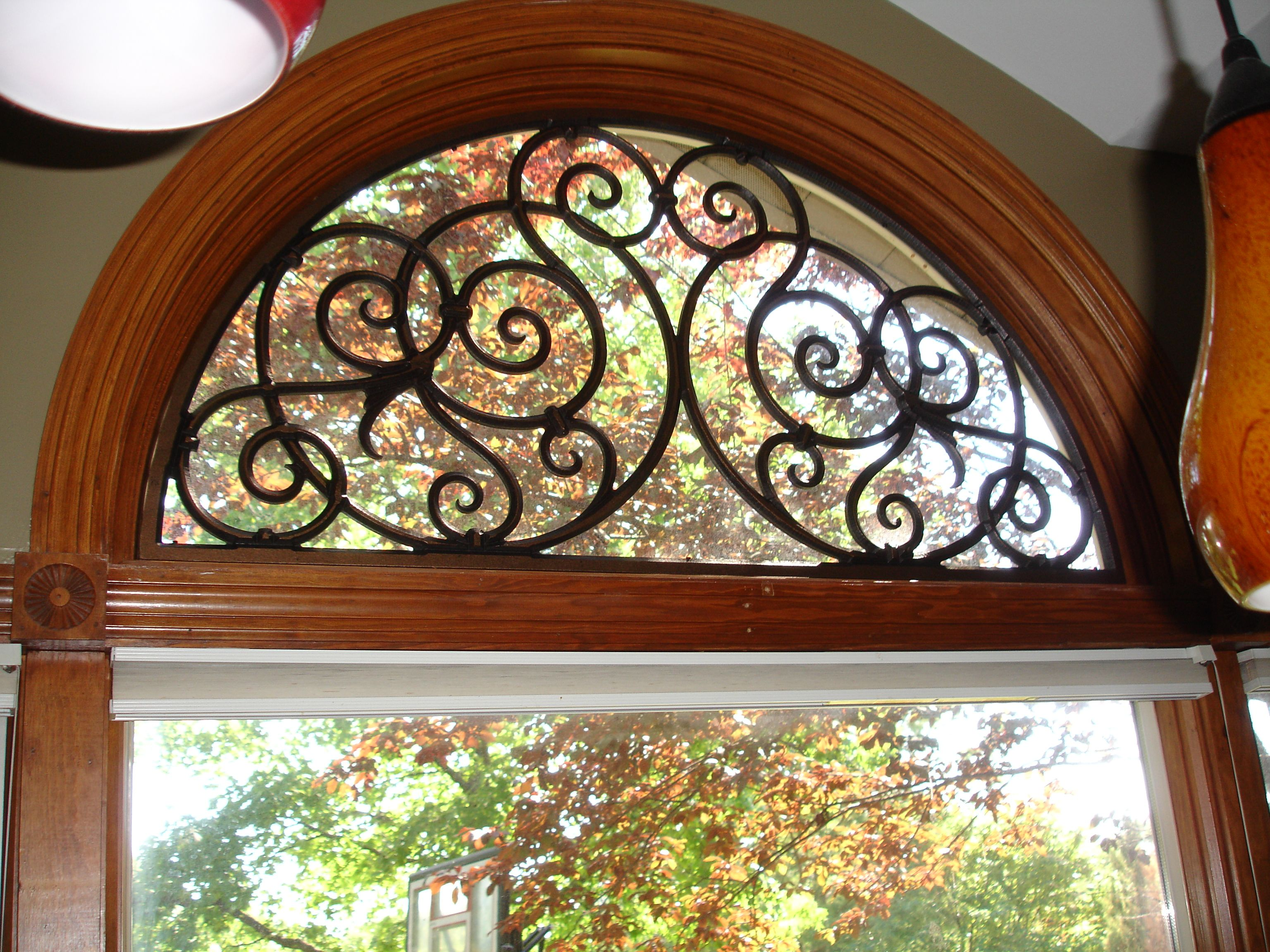 Round top front door window inserts - Half Round Window Treatment With Iron Art Would Be Great Over A Front Door