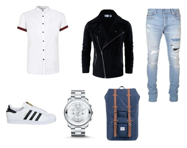 """Leo Valdez"" by moonbibliphile on Polyvore featuring Topman, Balmain, adidas, Movado, Herschel Supply Co., men's fashion и menswear"