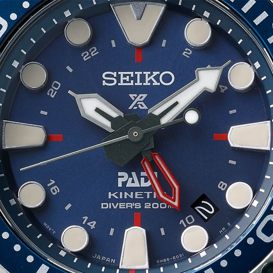 Seiko Prospex Special Edition PADI Kinetic GMT Diver SUN065 watch s dial. 825d6ebd55