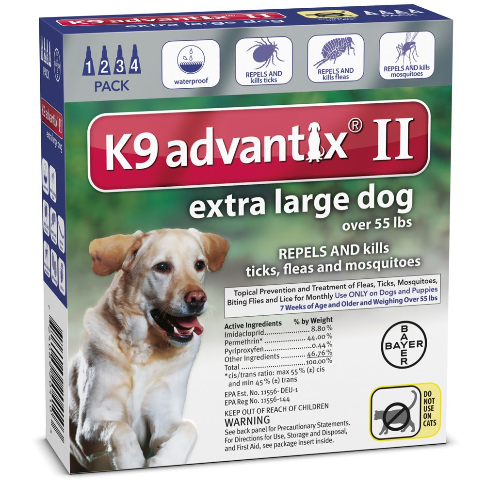 4 Month K9 Advantix Ii Blue For Extra Large Dogs Over 55 Lbs Large Dogs Fleas Flea And Tick