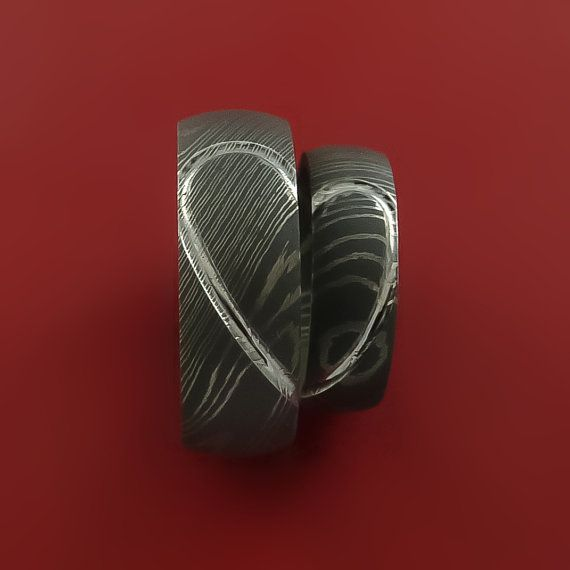 Matching Damascus Steel Heart Carved Ring Set Wedding Bands Genuine
