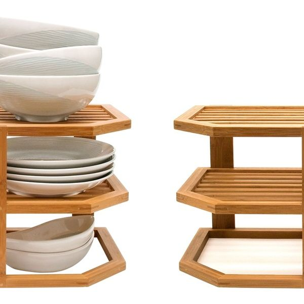 Three-Tier Bamboo Plate Rack