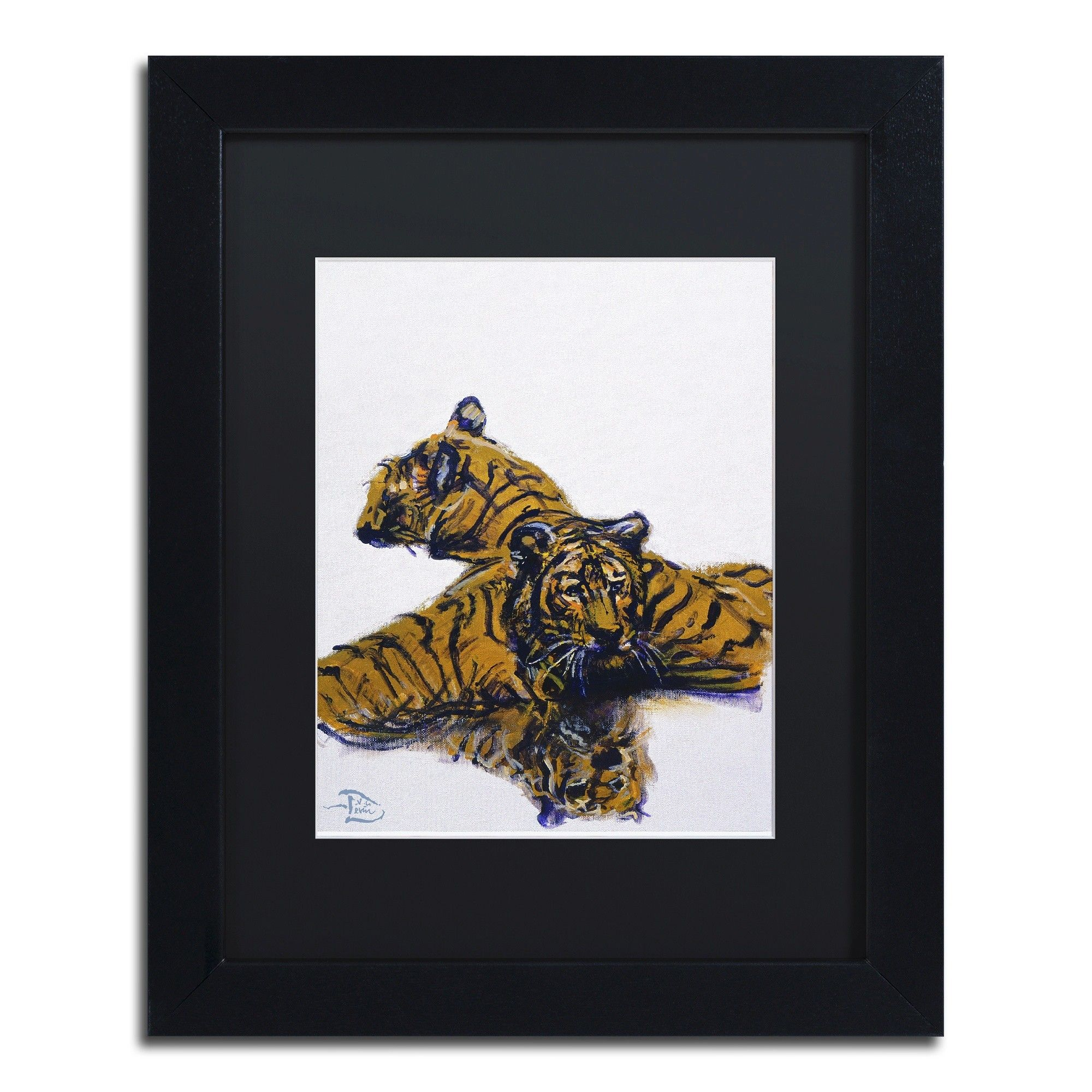 Tiger water by lowell sv devin matted framed painting print