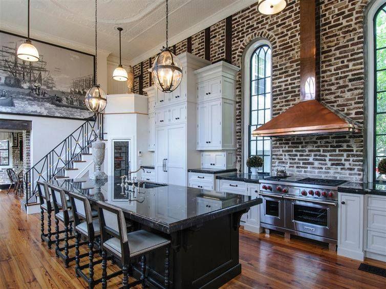 Loft like kitchen. High ceilings.   Kitchen design ...