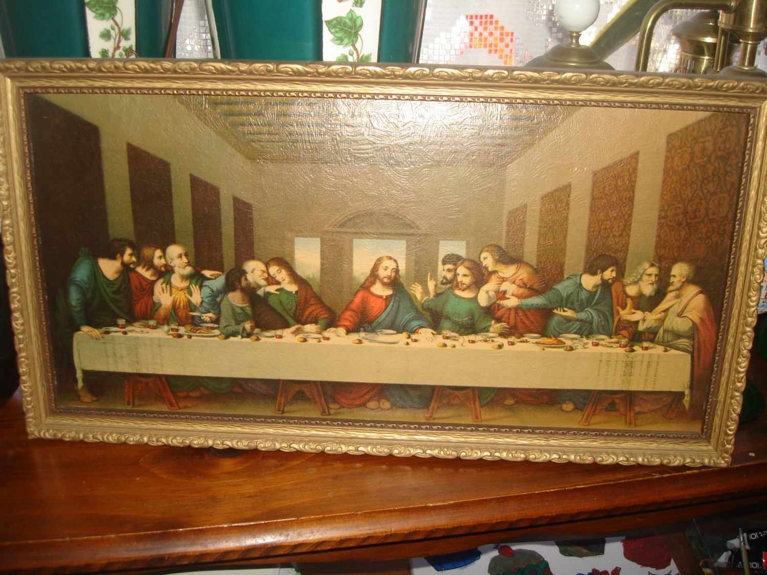 SUMMER CLEARANCE SALE antique last supper print in goldleaf wood ...