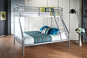 Triple Bunk Bed 4FT6 Bottom Double 3FT Top Single Silver Satin Metal Adult  Kids  635a9e79a