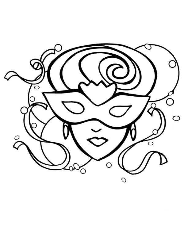 A Beautiful Lady on Mardi Gras Mask Coloring Page | Fonts ...