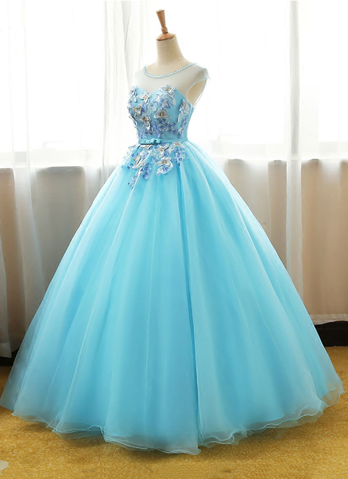Ball Gown Prom Dress, Appliques Tulle Prom Dresses, | formal evening ...