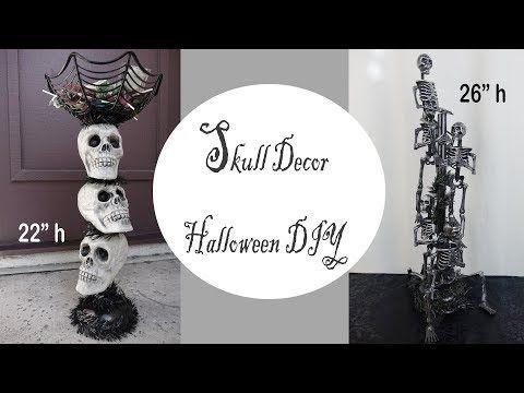 2) Halloween Decor / Skull Candy Stand / Dollar Store DIY - YouTube
