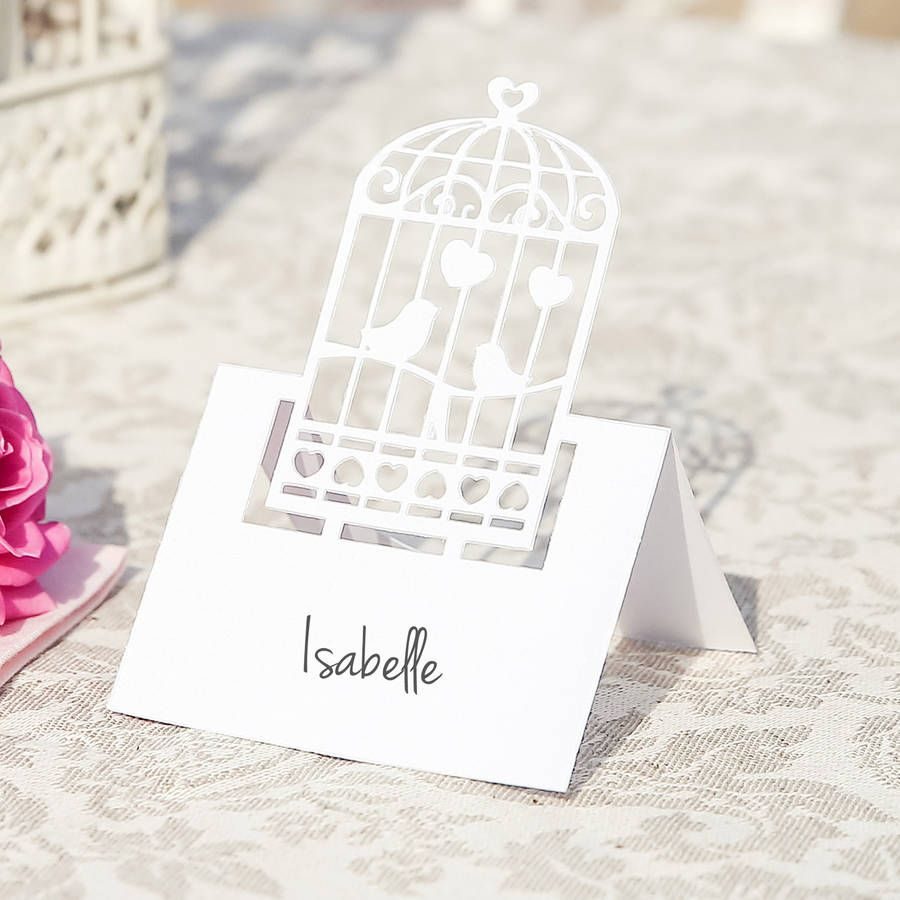 Pack Of 10 White Birdcage Favour Boxes Place Cards Favors And Wedding