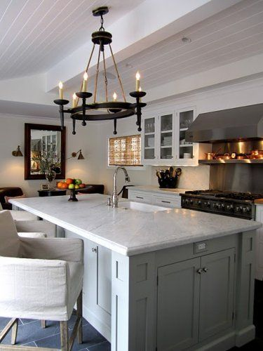 Gray Cabinets Marble Counters Ceiling Black Light Fixture