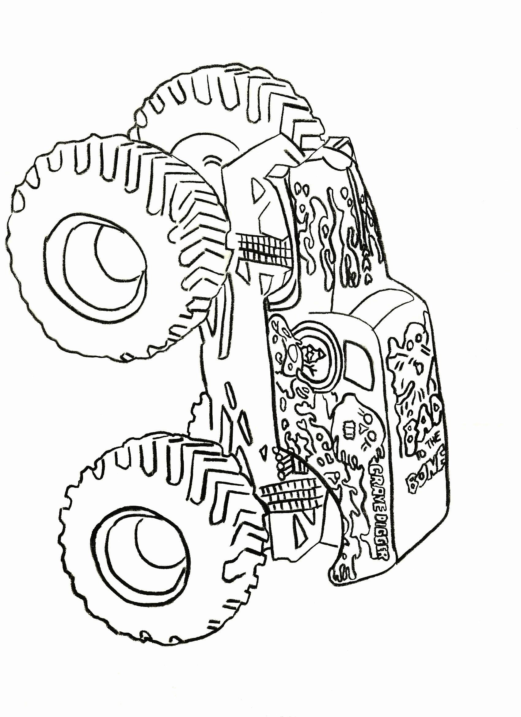 Grave Digger Coloring Page Unique Truck Coloring Book Grave Digger