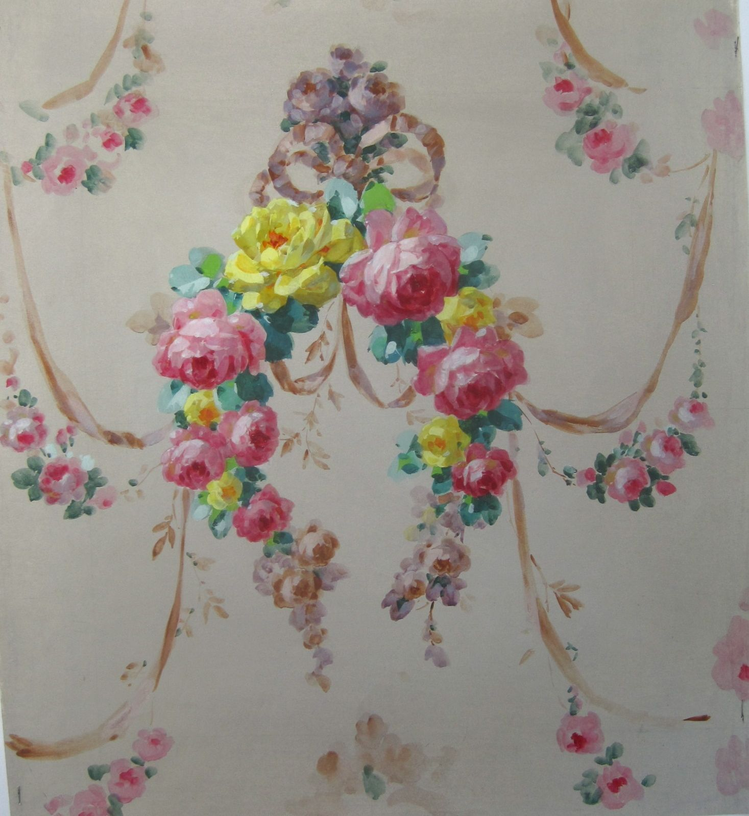 19th Century French Wallpaper Design Roses in Gouache