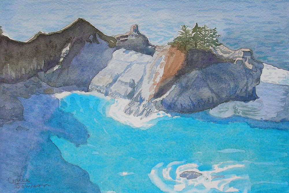 Big Sur Cove Julia Pfeiffer Burns California Watercolor Painting, Cerise Johnson