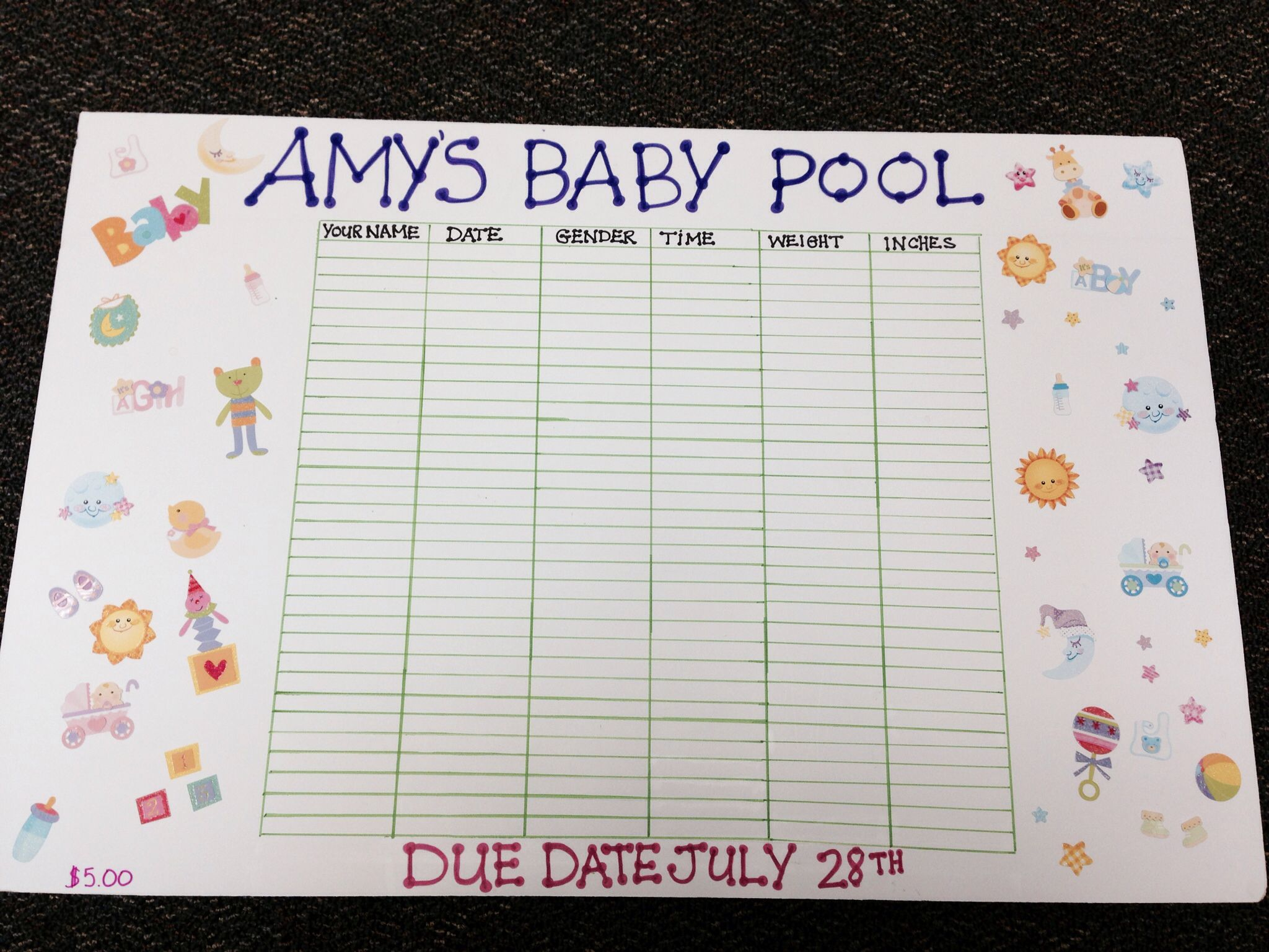 Guessing baby pool template baby pinterest baby pool for Guess the baby weight template