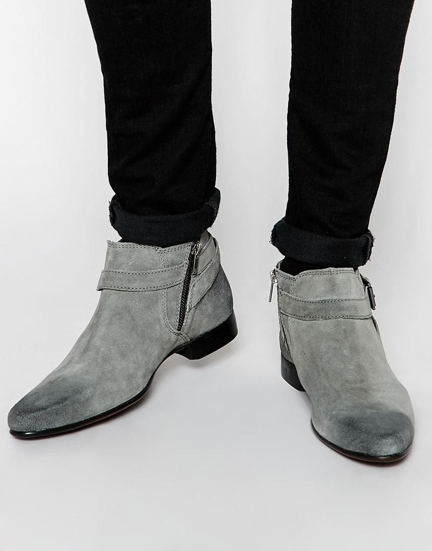 Buy Men Shoes / Asos Chelsea Boots In Gray Suede With Buckle Strap