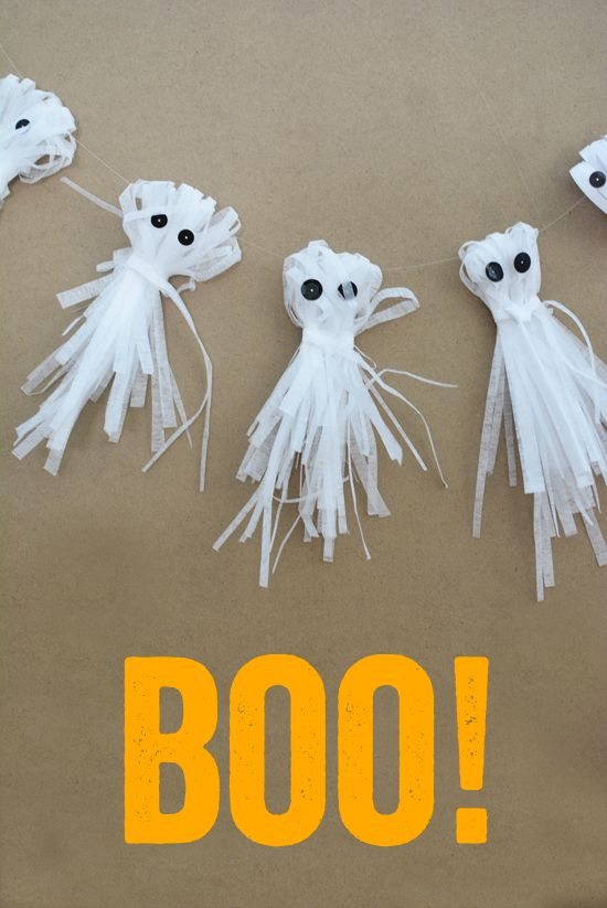 A ghostly garland made entirely of shredded paper. Don't get spooked and watch out for paper cuts! #HotelT2