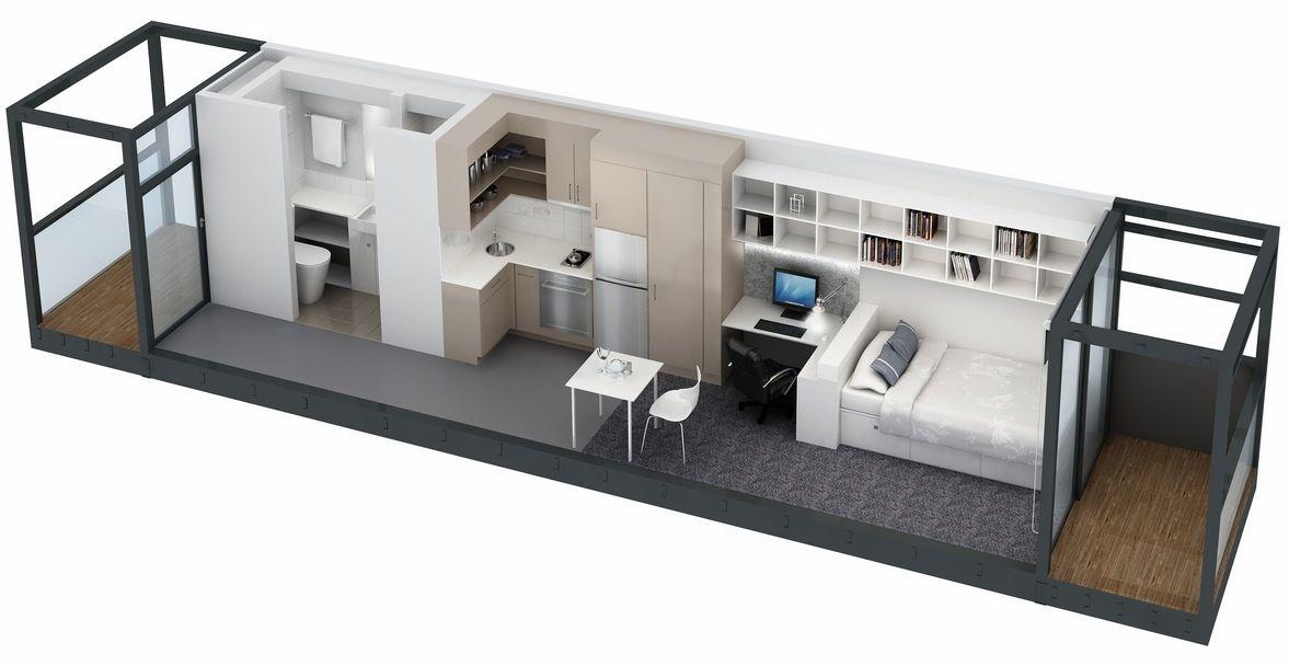 Shipping Container Apartment Plans planos de apartamentos pequeños de un dormitorio | studio