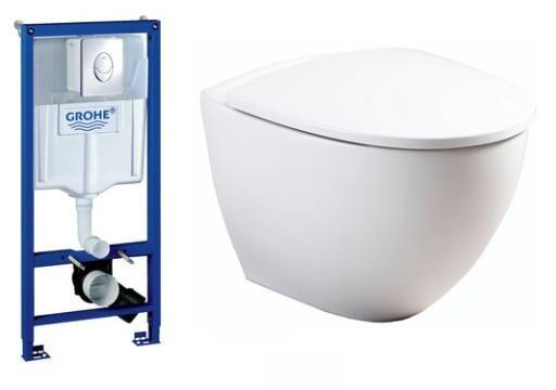 Komplet pakke m/GROHE cisterne, betjeningsplade, Ifö Sign Art toilet og soft close sæde