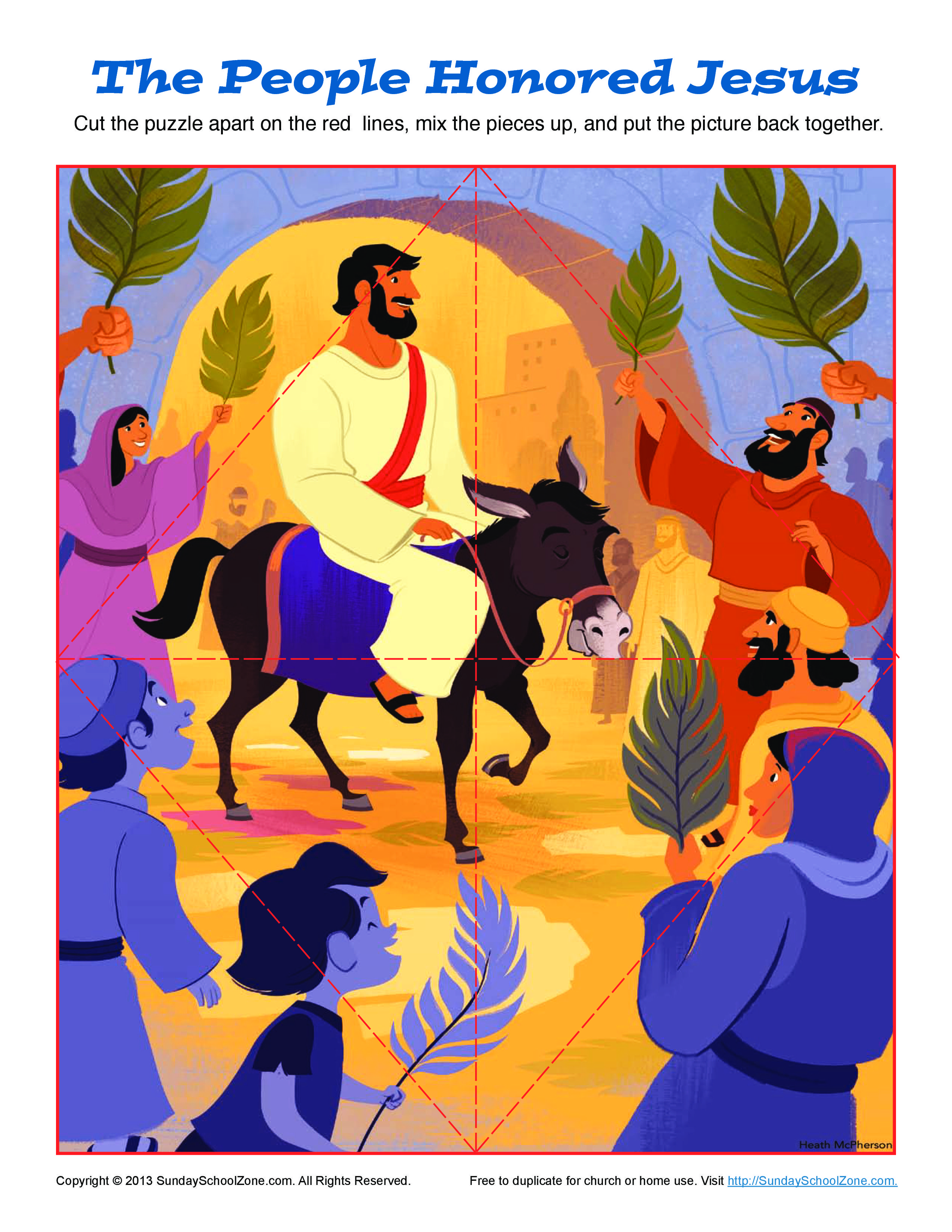 Printable Palm Sunday Jigsaw Puzzle On Sunday School Zone