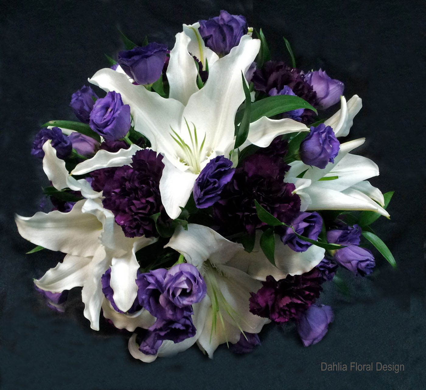 White lily with purple flowers calgary wedding flower bridal party white lily with purple flowers calgary wedding flower bridal party bouquet izmirmasajfo Images