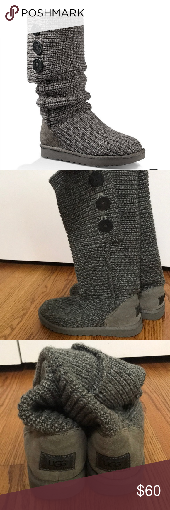 Ugg Boots Grey Knit Size 10 My Posh Picks Ugg Boots Uggs Boots