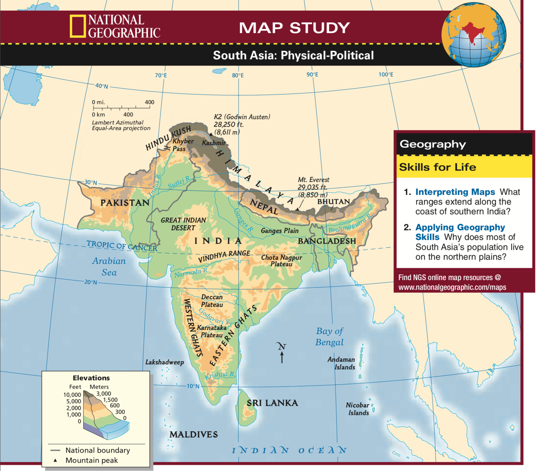 Map Of Asia Resources.South Asia Physical Geography Map Worksheet Middle School