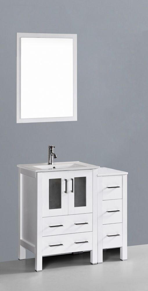 37 Inch W X 19 Inch D Bath Vanity In White With Ceramic Vanity Top