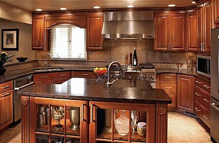 great color for cabinets...island