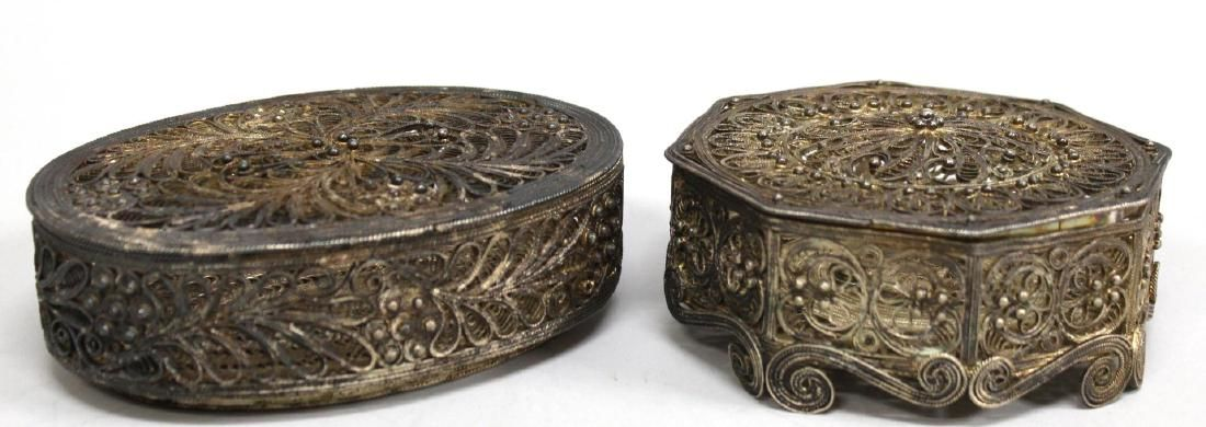 2 Silver-Plated Filigree Metal Boxes