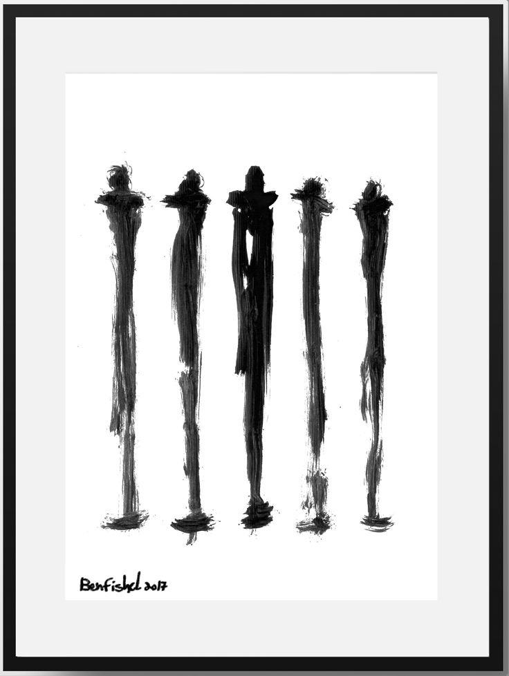 High quality original framed black family a group of five family figures abstract free form this white black print is