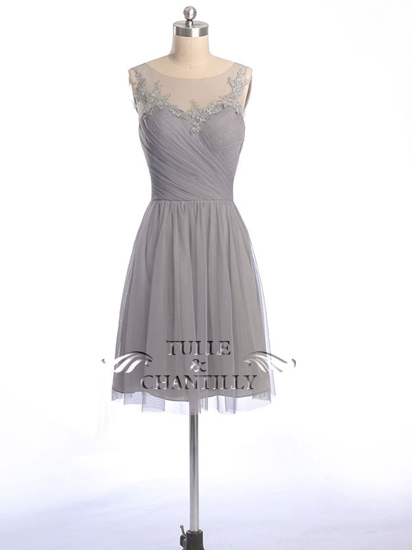 Short Tulle Bridesmaid Dress with Illusion Lace Neck TBQP300