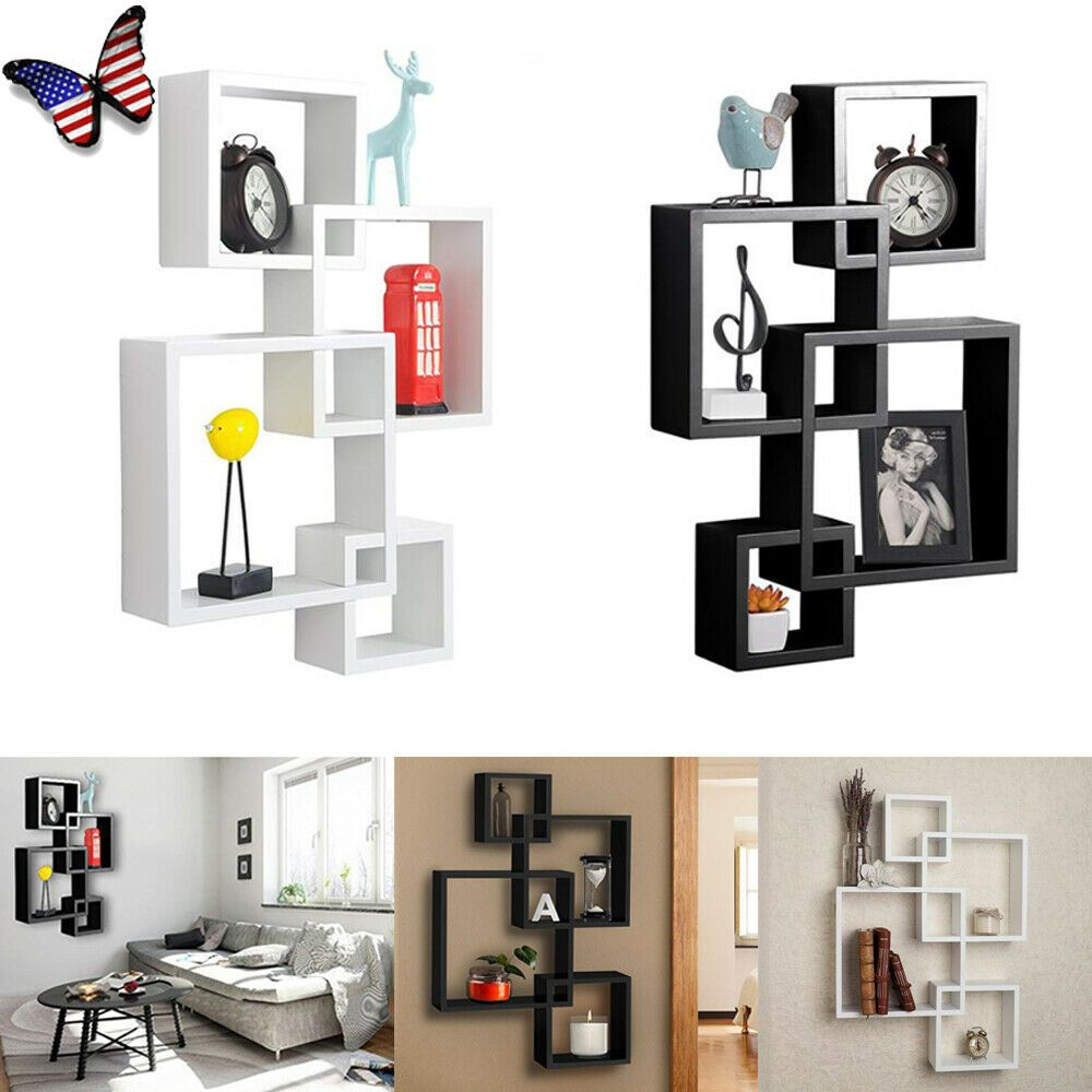 Intersecting Squares Storage Rack Wall Mount Home Floating Shelf