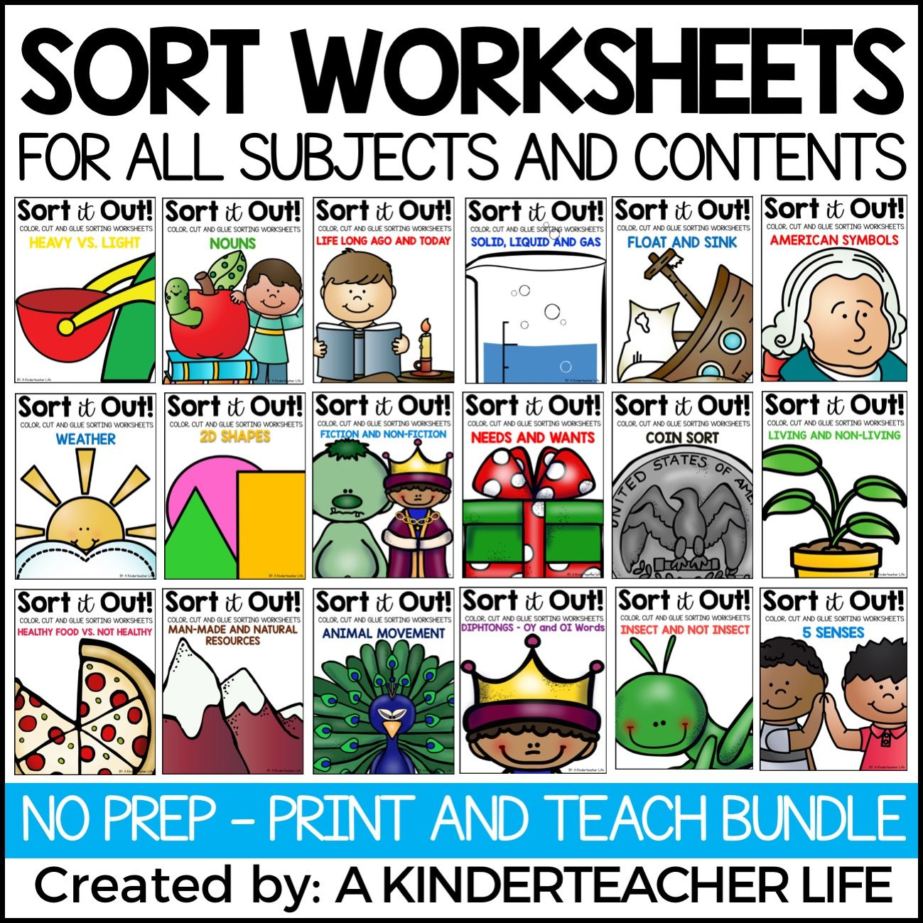 Sorting Worksheets For Math Science Social Stu S